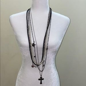 Brand new pearl star charms cross diamond necklace
